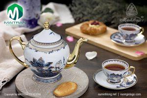 Bộ trà gốm sứ Minh Long Sen Ngọc 0.8L