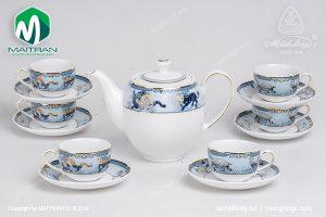 Bộ trà gốm sứ Minh Long Tứ Linh 0.8L