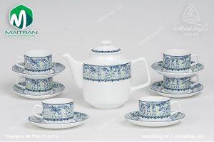Bộ trà gốm sứ Minh Long Vinh Quy Nhạt 1.1L