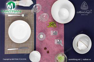 Bộ bàn ăn gốm sứ Minh Long Daisy IFP viền chỉ vàng 9 sản phẩm