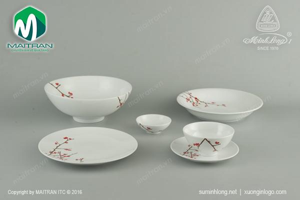 Bộ bàn ăn gốm sứ Minh Long Daisy Hồng Đào 22 sản phẩm