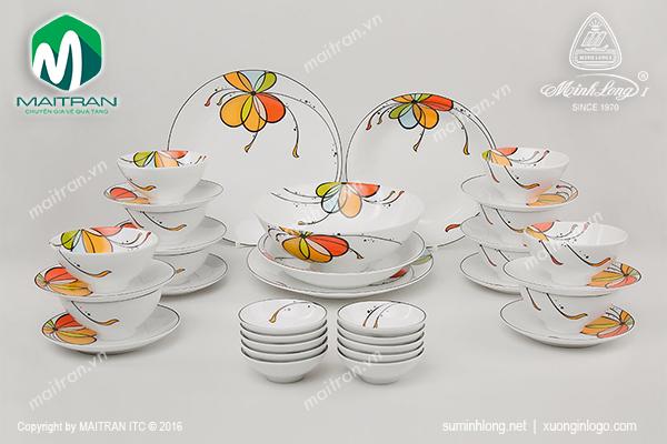 Bộ bàn ăn gốm sứ Minh Long Daisy Bóng Bay 35 sản phẩm
