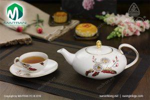 Bộ trà gốm sứ Minh Long Anna Thiên Kim 0.47L