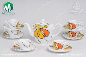 Bộ trà gốm sứ Minh Long Daisy Bóng Bay 0.65L