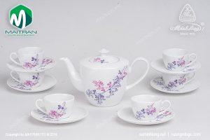 Bộ trà gốm sứ Minh Long Daisy Cỏ Tím 0.65L