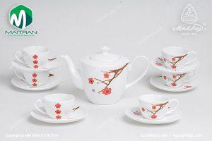 Bộ trà gốm sứ Minh Long Daisy Hồng Mai 0.65L