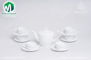Bộ trà gốm sứ Minh Long Daisy trắng 0.65L