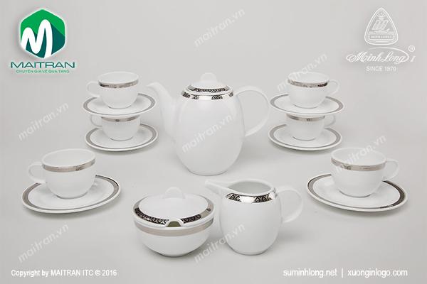 Bộ cà phê gốm sứ Minh Long Sago Thiên Tuế 1.3L