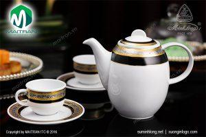 Bộ cà phê gốm sứ Minh Long hoa hồng đen khắc nổi 1.3L