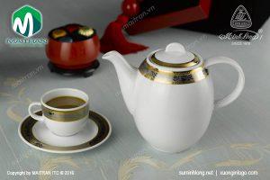 Bộ cà phê gốm sứ Minh Long Sago Hoa Hồng 1.3L