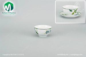 chén cơm gốm sứ minh long 12 cm lá xanh