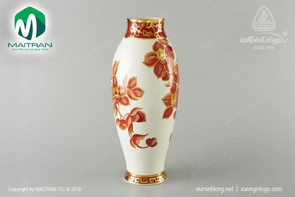 bình hoa gốm sứ minh long hoa lan 35 cm