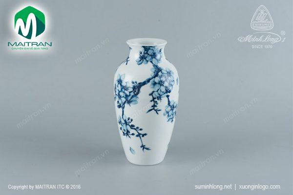 bình hoa gốm sứ minh long mai cobalt