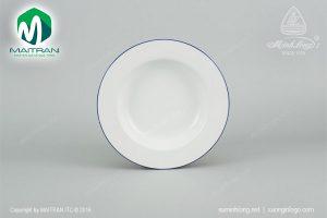 dĩa súp gốm sứ minh long 23 cm came chỉ xanh dương