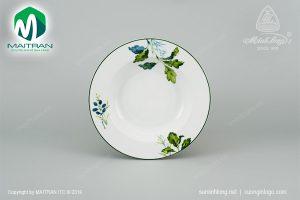 dĩa súp gốm sứ minh long 23 cm lá xanh