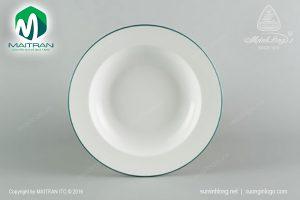 dĩa súp gốm sứ minh long 20 cm chỉ xanh lá