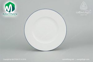 dĩa tròn gốm sứ minh long 25 cm chỉ xanh dương