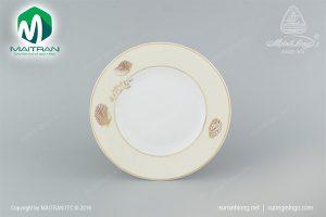 dĩa tròn gốm sứ minh long 27 cm hương biển kem