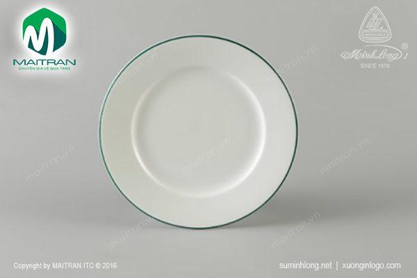 dĩa tròn gốm sứ minh long 28 cm chỉ xanh lá