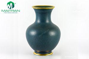 Bình hoa gốm sứ Minh Long Xanh Ngọc Bích Matte chỉ vàng