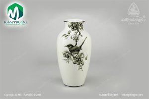Bình hoa gốm sứ Minh Long Chích Chòe & Việt Quất trắng đen