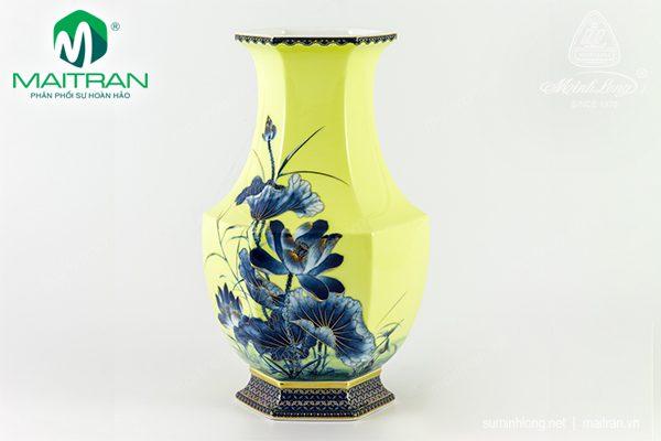 Bình hoa gốm sứ Minh Long Lộc Phát Sen Vàng Nền Vàng 28 cm