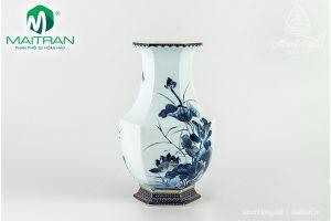 Bình hoa gốm sứ Minh Long Lộc Phát Sen Vàng Nền Xanh 28 cm