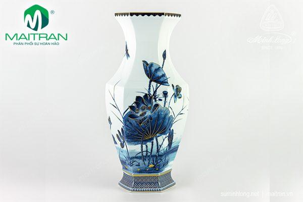Bình hoa gốm sứ Minh Long Lộc Phát Sen Vàng Nền Xanh 40 cm