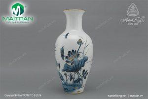 Bình hoa gốm sứ Minh Long Sen Vàng 30 cm