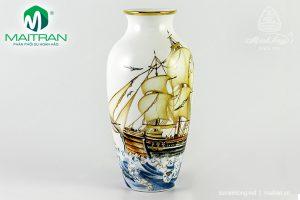 Bình hoa gốm sứ Minh Long Thuận Buồm Trang Trí Vàng 27 cm