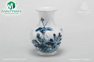Giỏ hoa gốm sứ Minh Long Sen Vàng 22 cm