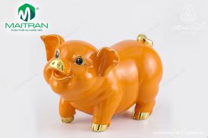 Tượng gốm sứ Minh Long Bách Lộc Cam chỉ Vàng 24.5 cm