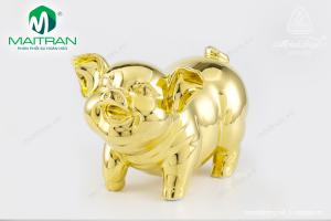 Tượng gốm sứ Minh Long Heo Bách Lộc Dát Vàng 24.5 cm
