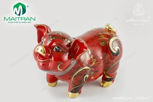 Tượng gốm sứ Minh Long Heo Bách Lộc Sen Sắc đỏ 24.5 cm