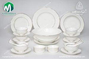 Bộ bàn ăn gốm sứ Minh Long 30 sản phẩm Đài Các chỉ bạch kim