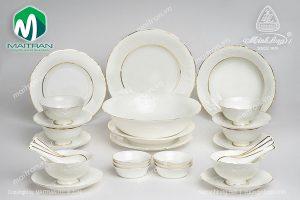 Bộ bàn ăn gốm sứ Minh Long 30 sản phẩm Đài Các Viền chỉ vàng