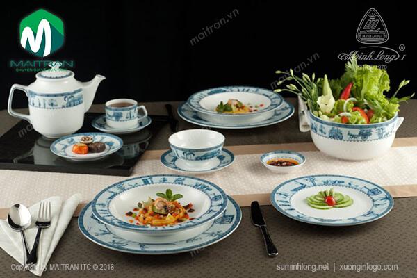 bộ bàn ăn gốm sứ cao cấp với họa tiết tinh xảo