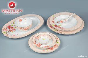 Bộ bàn ăn gốm sứ Minh Long 44 sản phẩm Camellia Hoa Đào
