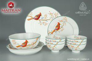 Bộ bàn ăn gốm sứ Minh Long 23 sản phẩm Jasmine Chim Và Trái
