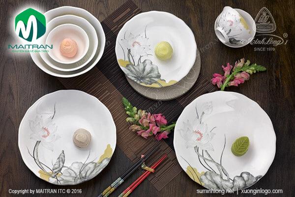 bộ bàn ăn gốm sứ Minh Long cao cấp