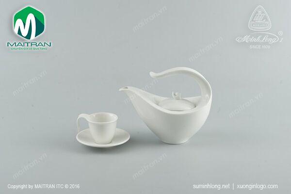 bộ trà gốm sứ cao cấp - Anh vũ trắng ngà 0.45L
