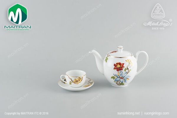 bộ trà gốm sứ cao cấp - Camellia Cát Tường 1.1L