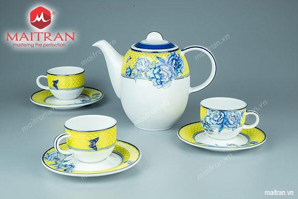 Bộ trà gốm sứ Minh Long 0.8L Mẫu Đơn Vàng