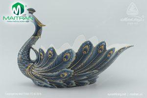 Tô trái cây gốm sứ Minh Long Khổng Tước Cobalt trang trí vàng