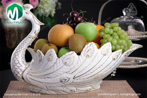 Tô trái câygốm sứ Minh LongKhổng Tước viền chỉ vàng