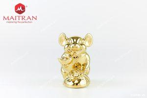 Tượng gốm sứ Minh Long Chuột Phú 20 cm Dát vàng